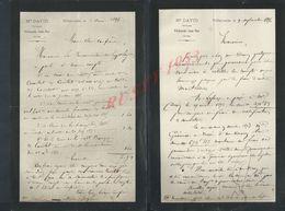 2 LETTRES DE 1896 M DAVID NOTAIRE VILLEFRRANCHE SAINT PHAL : - Manuscrits