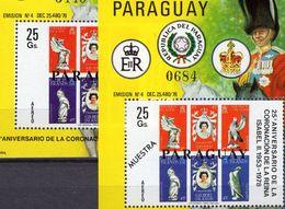 Elisabeth II.1978 Paraguay Block 326M ** 120€ Krönung Stamp On Stamps Salomon/Gilbert Sheet Overprint Bf Philatelic - Paraguay