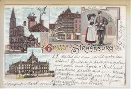 STRASBOURG - GRUSS MULTIVUE - LITHO - DOS UNIQUE - 2.02.1899 - RR - S/TIMBRE ET TACHE DE COLLE AU DOS - Strasbourg