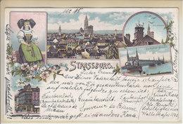 STRASBOURG - GRUSS MULTIVUE - LITHO - DOS UNIQUE - DATE ILISIBLE - RR - S/TIMBRE ET TACHE DE COLLE AU DOS - Strasbourg