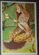 Petit Calendrier De Poche Illustration Femme Aux Lotus - Pharmacie Gorron Mayenne 1982 - Calendriers