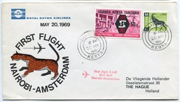 RC 6699 PAYS-BAS KLM 1969 1er VOL NAIROBI KENYA - AMSTERDAM FFC NETHERLANDS LETTRE COVER - Airmail