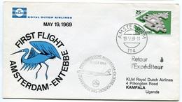 RC 6701 PAYS-BAS KLM 1969 1er VOL AMSTERDAM - ENTEBBE OUGANDA FFC NETHERLANDS LETTRE COVER - Airmail