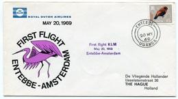 RC 6702 PAYS-BAS KLM 1969 1er VOL ENTEBBE OUGANDA - AMSTERDAM FFC NETHERLANDS LETTRE COVER - Airmail