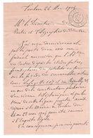 """1904 - CAD """" POSTES ET TELEGRAPHES / VAR """" Sur DOCUMENT MANUSCRIT DATÉ De TOULON Pour LE DIRECTEUR DES PTT - Marcophilie (Lettres)"""