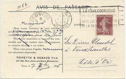 CARTE POSTALE 1925 AVEC TIMBRE AU TYPE SEMEUSE ET ILLUSTRATION PUBLICITAIRE - Poststempel (Briefe)