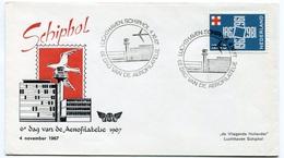 RC 6705 PAYS-BAS KLM 1967 6eme JOURNÉE AEROPHILATELIQUE A SCHIPHOL AMSTERDAM NETHERLANDS LETTRE COVER - Airmail