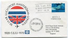 RC 6706 PAYS-BAS KLM 1970 1er VOL 50 ANS DES VOLS AMSTERDAM - LONDRES FFC NETHERLANDS LETTRE COVER - Airmail
