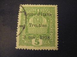 TRENTINO-1918, Austria Soprast, Sass. N. 2, 5 H., Usato, TTB, OCCASIONE - Trentino