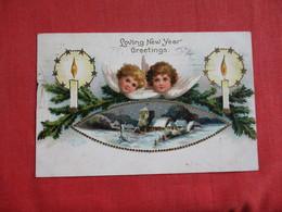 Angel Embossed  New Year Greetings  Crease Left Border   Ref 2820 - Angels