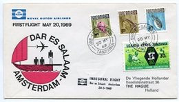 RC 6710 PAYS-BAS KLM 1969 1er VOL DAR ES SALAAM TANZANIA - AMSTERDAM FFC NETHERLANDS LETTRE COVER - Airmail