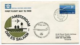 RC 6711 PAYS-BAS KLM 1969 1er VOL AMSTERDAM - DAR ES SALAAM TANZANIA FFC NETHERLANDS LETTRE COVER - Airmail