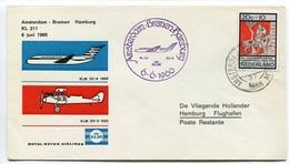 RC 6715 PAYS-BAS KLM 1966 1er VOL AMSTERDAM - BREMEN HAMBURG ALLEMAGNE FFC NETHERLANDS LETTRE COVER - Airmail