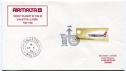 RC 6720 MALTE AIRMALTA 1979 1er VOL VALLETTA - LYON FRANCE FFC LETTRE COVER - Malta