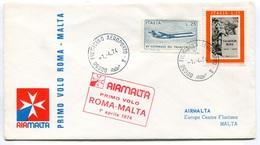 RC 6721 MALTE AIRMALTA 1974 1er VOL ROMA ITALIE - MALTA FFC LETTRE COVER - Malta