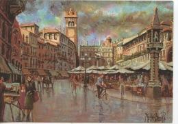 Verona Piazza Erbe (huile) Agostino Bonetti (CP Neuve) - Schilderijen