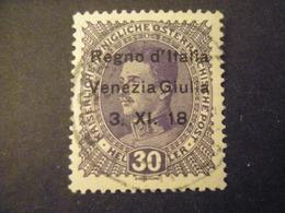 VENEZIA GIULIA, 1918, Austria, Sass N. 9, 30 H. , Soprast., Usato, TTB, - Venezia Giulia