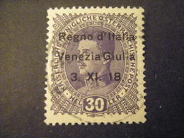 VENEZIA GIULIA, 1918, Austria, Sass N. 9, 30 H. , Soprast., Usato, TTB, - 8. Besetzung 1. WK