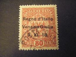 VENEZIA GIULIA, 1918, Austria, Sass N. 3, 6 H. , Soprast., Usato, TTB, - Venezia Giulia