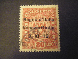 VENEZIA GIULIA, 1918, Austria, Sass N. 3, 6 H. , Soprast., Usato, TTB, - 8. Besetzung 1. WK