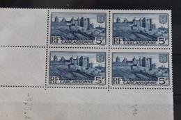 1938    CITE  DE  CARCASSONNE  BLOC  DE  4   FRAICHEUR  POSTALE  ** - France