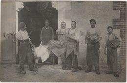 CARTE PHOTO Abattoir Boucherie Tête De Veau Carcasses Basile BARBIER à DOMPIERRE - Autres