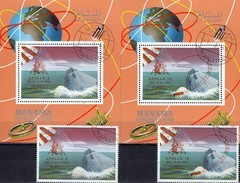 Apollo 9+10 Overprint 1968 Manama A-B 211,Blocks I+J 35 O 60€ USA-Raumschiffe Hojitas S/s Blocs M/s Sheets Bf Space - Lots & Kiloware (mixtures) - Max. 999 Stamps