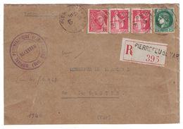 1940 - LETTRE (devant) RECOMMANDÉE De PIERREFEU (VAR) AFFRANCHIE À 3F80 Avec MERCURE + PAIX + CERES HOPITAL PSY - Marcophilie (Lettres)