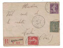 1920 - LETTRE RECOMMANDÉE De PLAN DE LA TOUR (VAR) AFFRANCHIE À 60c Avec SEMEUSE CAMÉE + SEMEUSE LIGNÉE - Postmark Collection (Covers)