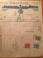 RENAIX-LA MANUFACTURE DE TISSUE DE RENAIX-19-4-1938-FACTURE - Belgio
