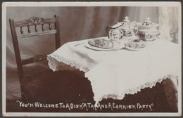 You'm Welcome To A Dish'a Tay And A Cornish Pasty, 1908 - Dalby-Smith RP Postcard - England