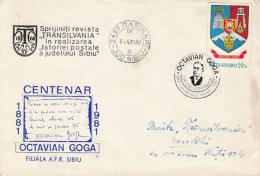 69014- OCTAVIAN GOGA, WRITER, SPECIAL COVER, 1981, ROMANIA - Ecrivains