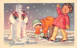 """¤¤  -  ILLUSTRATEUR """" COUGEON """"  Enfants Avec Un Bonhomme De Neige  -  Bonne Année  -  ¤¤ - Gougeon"""