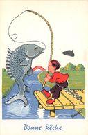 """¤¤   -   ILLUSTRATEUR  """" BERNET """"  -  Petit Garçon à La Pêche  -  Pêcheur   -  ¤¤ - Autres Illustrateurs"""