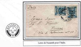 Palestine British Mandate Italie Italia Lettre Nazareth 1922 Cover Carta Belege Lettera - Palestina