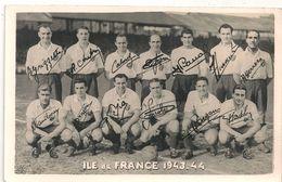 Carte Photo Equipe Fédérale Ile De France 1943-44 - Football