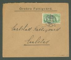 J Cover W85 Sweden 1913 Orebro Poor Relief - Svezia