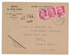 1946 - LETTRE RECOMMANDÉE PROVISOIRE De DIGNE (ALPES) AFFRANCHIE 9F GANDON X 3 Pour ANGERS SERVICE GENIE RURAL MINISTERE - Marcofilie (Brieven)