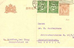 1921 Bk G122 Met Bijfrankering Van 'sGravenhage Naar Charlottenburg - Postal Stationery