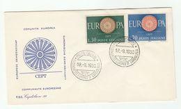 1960 ITALY FDC Europa SPECIAL CARDIOLOGY CONGRESS EVENT Pmk Cover Health  Medicine Stamps - Medicina