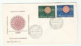 1960 ITALY FDC Europa SPECIAL CARDIOLOGY CONGRESS EVENT Pmk Cover Health  Medicine Stamps - Medicine