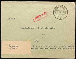 """Haldensleben """"Gebühr Bezahlt"""" 27.10. 1945 An Die Flüchtlings Zentralstelle Mecklenburg/Vorp - Sowjetische Zone (SBZ)"""