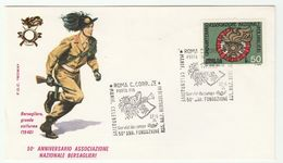1974 ITALY FDC BERSAGLIERI Army SPECIAL Pmk PORTA PIA ROMA C CORR ZE Cover 1948 UNIFORM, GUN Military Forces Stamp - Militaria