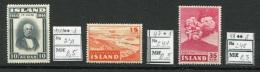 JAP P40 Iceland 1944/47/48 MNH/MLH 3v J Sigirdsson Aviation Plane Volcano Hekla - Island