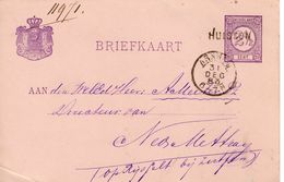 1883 Bk G23  Metb Langstenmpel HUISSEN Via Arnhem Naar Rijsselt Bij Zutphen - Postal Stationery