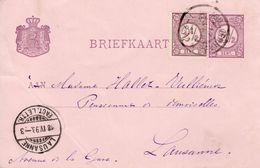 1898 Bk G33  Van 'sGravenhage Naar Lausanne Met Bijfrankering - Postal Stationery
