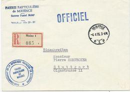 LETTRE RECOMMANDEE 1955 AVEC CACHET PAIERIE PARTICULIERE DE MAYENCE SP 50.347 - Postmark Collection (Covers)
