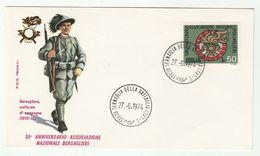 1974 Sernaglia ITALY FDC BERSAGLIERI Army 1915 1918 UNIFORM , GUN, Cover Military Forces Stamps WWI - WW1