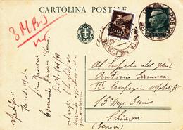 Cartolina Postale Cent. 15 + Complementare, Posta Militare 101 Per Chiavari - 1900-44 Vittorio Emanuele III