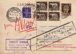 Regno Storia Postale - Cartolina Postale Cent. 30 + Complementari, Sanremo Per Etiopia, 3.2.1941 - 1900-44 Victor Emmanuel III.
